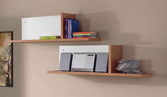 Abitti Pack 2 estantes de Pared en Color Cerezo con balda separadora Vertical y Trasera Blanca. 2 baldas para Dormitorio Color Madera 30x102x28 cm