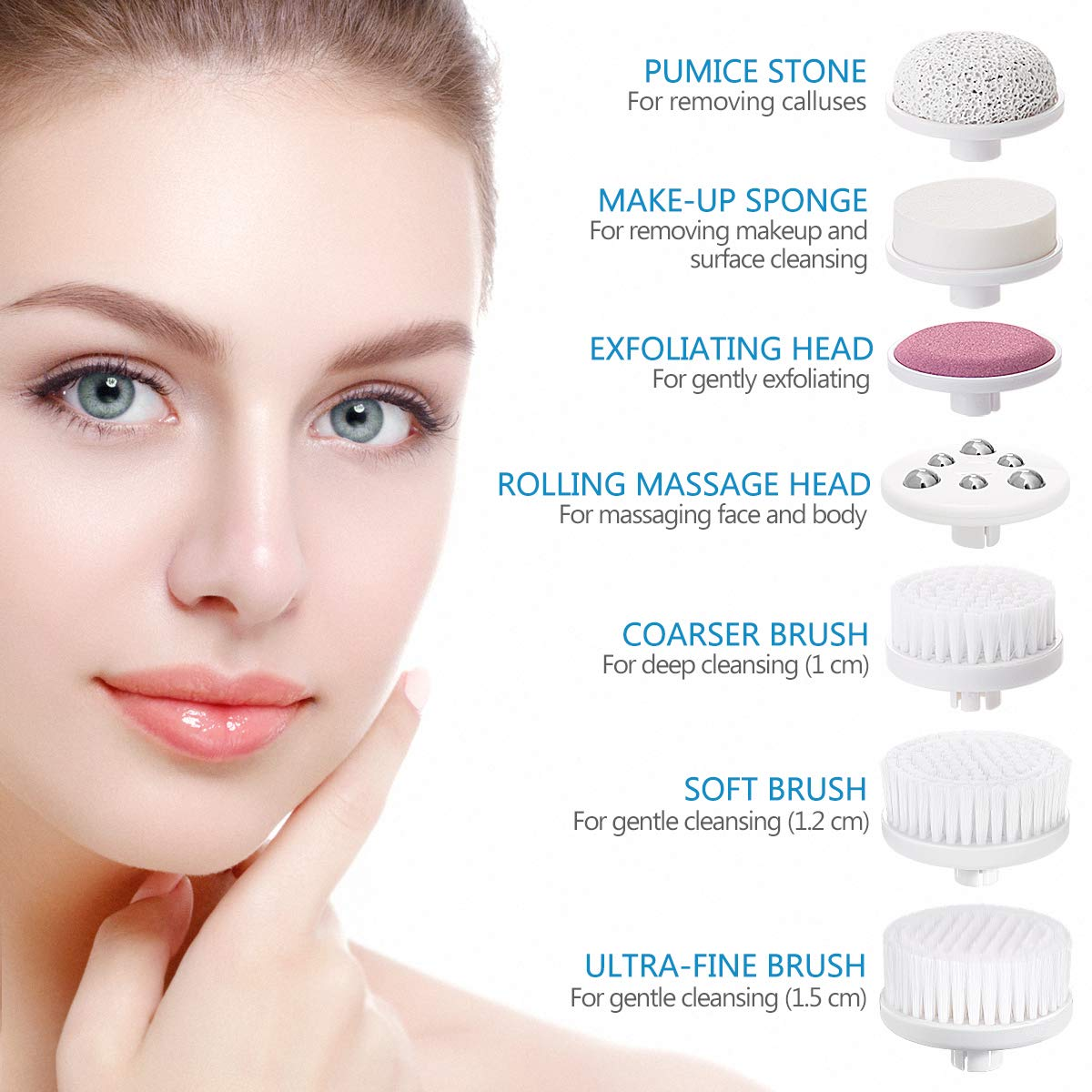7-In-1 Facial Cleansing Brush Set, Waterproof Face Spin Brush Exfoliating Brush - Sapphire Blue