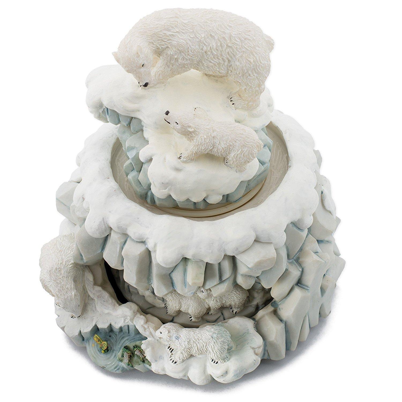 Sculptured Heavy Resin Double Revolving Music Box Decorative Cadona International 32037 Polar Bear with Cub Born Free 6 1//4 High