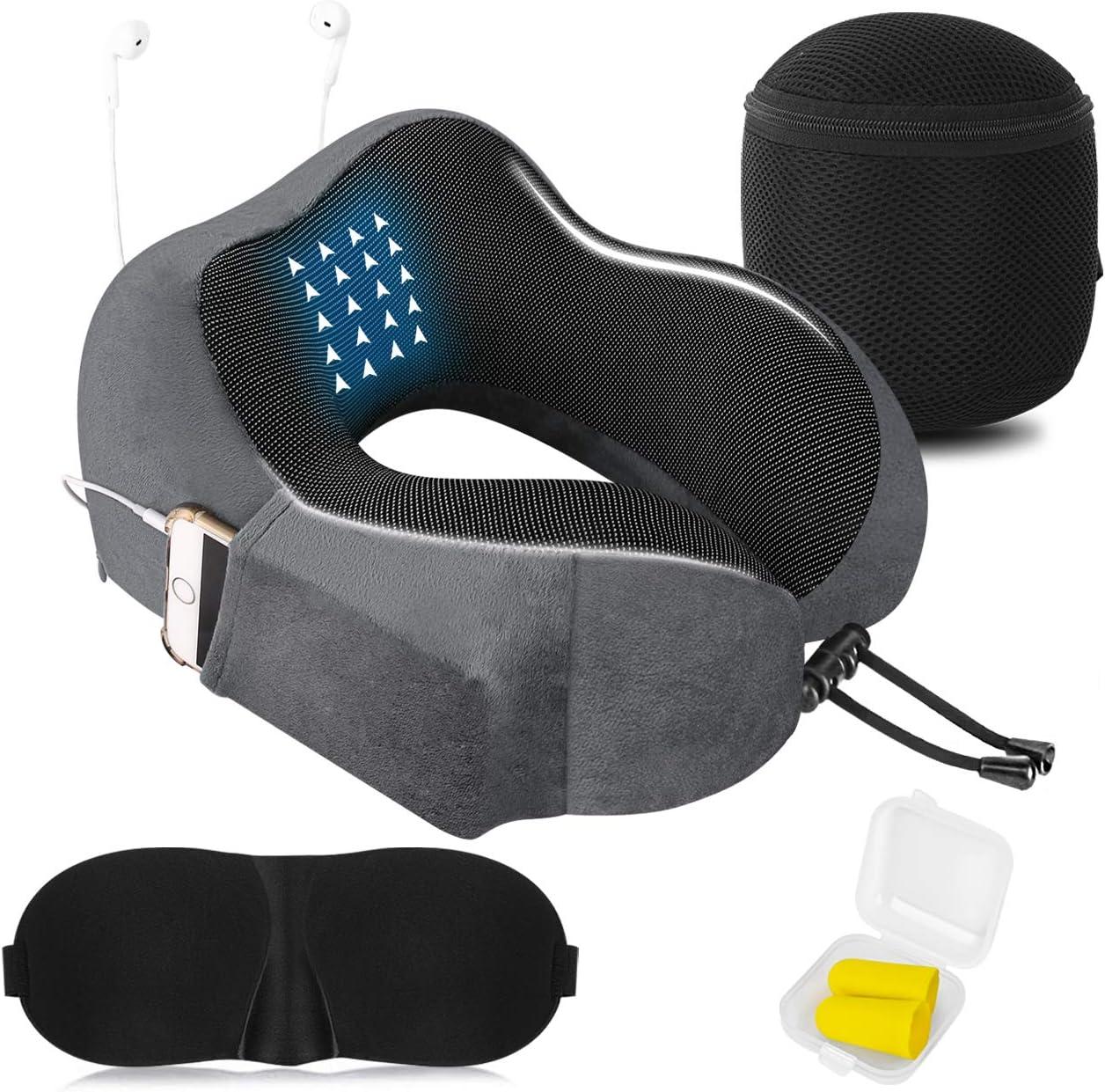 Almohada de Viaje Cervical Viscolástica Ortopédica - Almohada de Cuello,Almohadas de Acampada,Soporte de Cuello,con Máscara de Ojos 3D y Tapones para los oídos,Adecuada para Viajes,Oficina (Gris).
