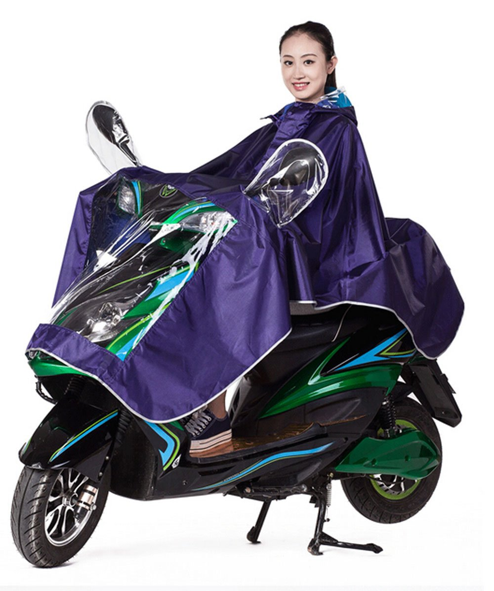 High Qality Motorcycle Waterproof Rain Coat Women Men Raincoat Scooter Cape Poncho (Purple)