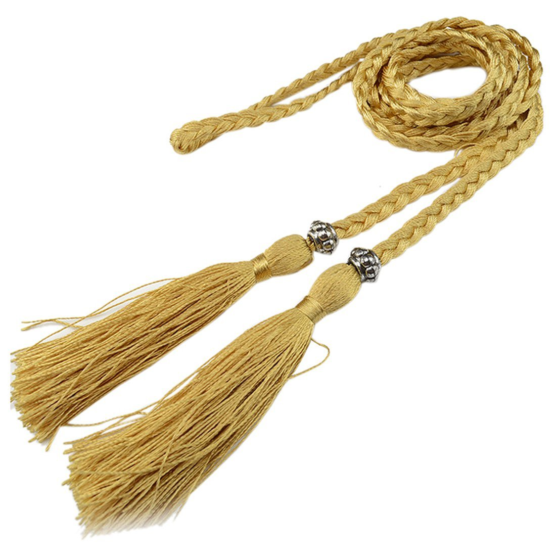SODIAL(R) Woven tassel belt knot decorated waist chain waist rope Gold