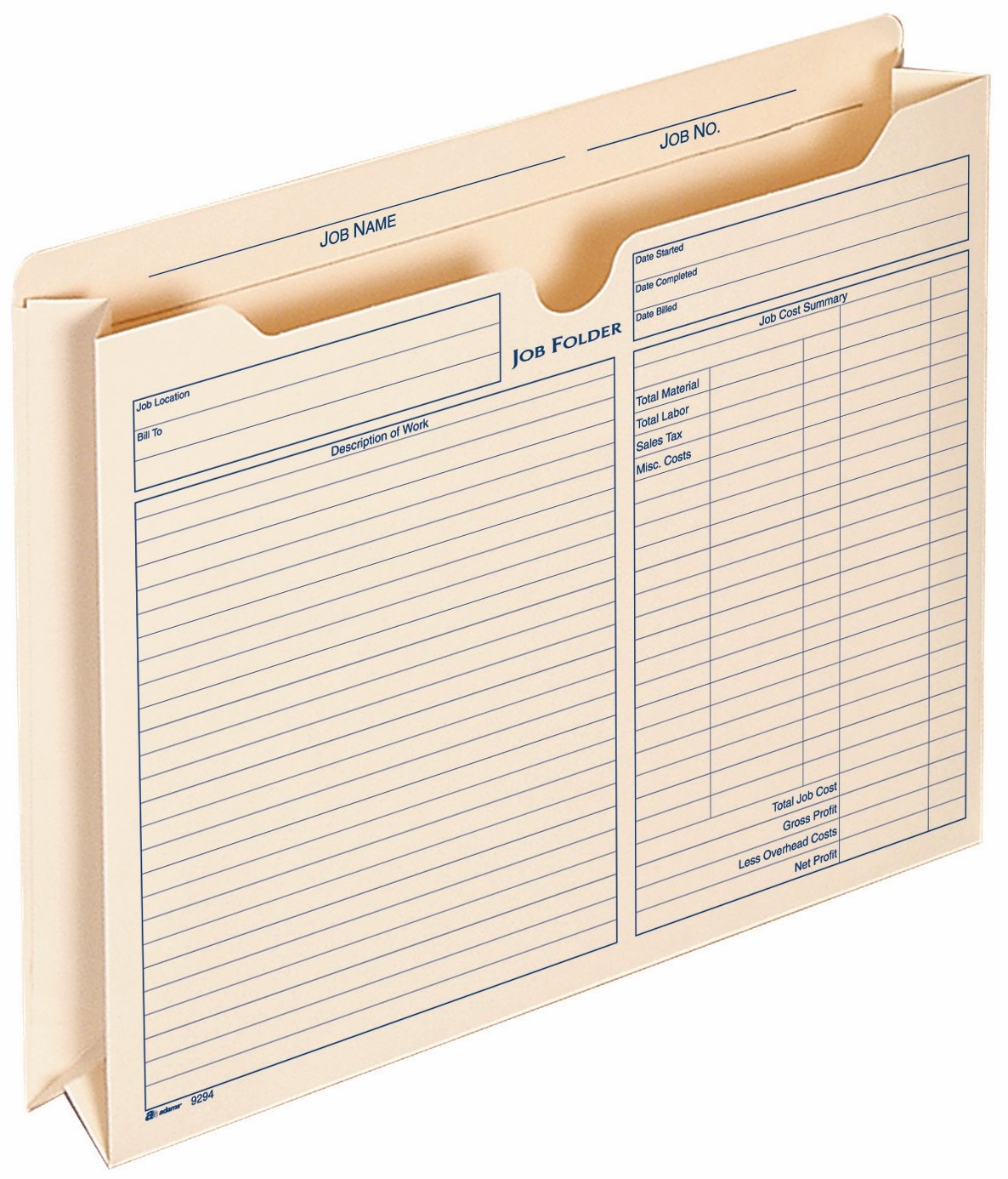 Adams 2 Inch Expanding Job Folder, , 9.5 x 11.75 Inches, Manila, 15 per Pack (9294E)