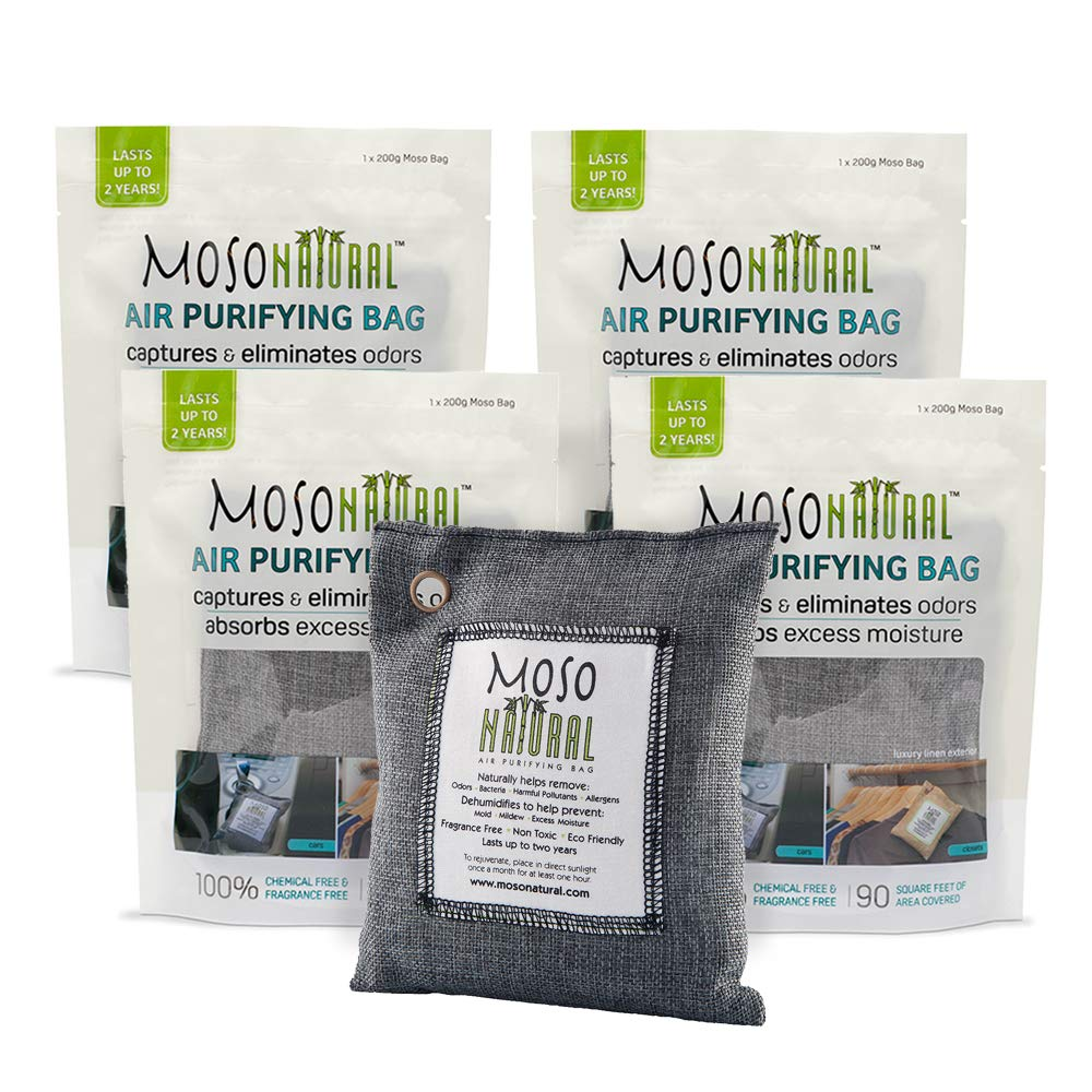 MOSO NATURAL Air Purifying Bags. Odor Eliminator and Odor Absorber. (4) Individually Sealed 200g Charcoal Deodorizer Bags. by MOSO NATURAL
