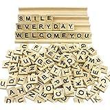 Goodlucky365 200 PCS Lettres en bois et & Lettre Racks Set of 4, Carreaux de Lettre, Carreaux de rechange, des lettres en bois, convenir à l'artisanat, à l'orthographe, au pendentif, au scrapbooking, à la fabrication de bijoux, au DIY