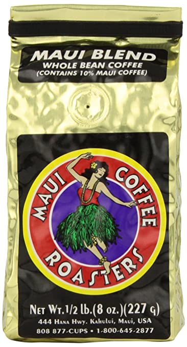 Maui Coffee Roasters Whole Bean Coffee, Maui Blend, 8-Ounce