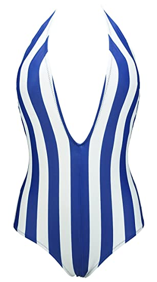514fbea7bde COCOSHIP Navy   White Striped Floral One Piece Plunging V Neck Backless  Bather Swimsuit Low Scoop