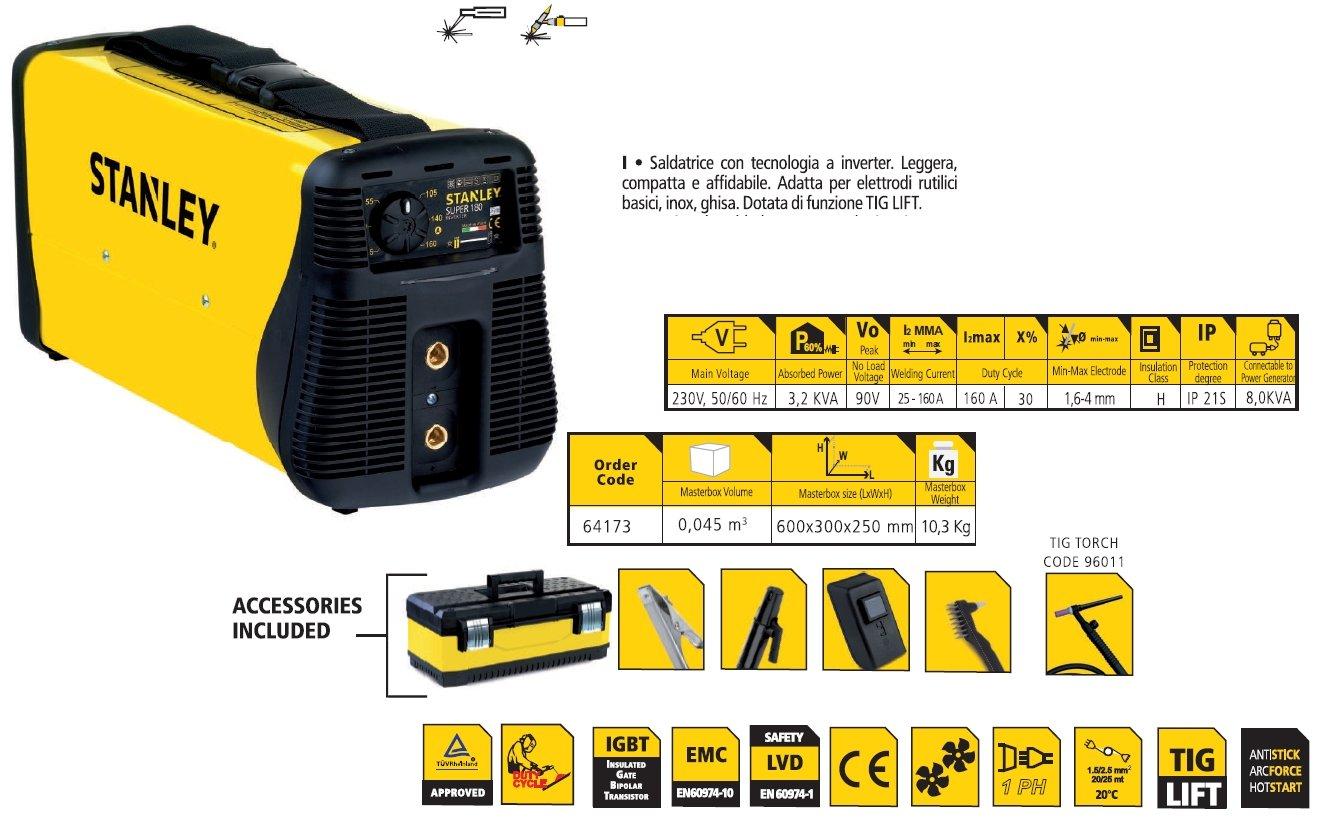 Kit soldadura eléctrica Inversor Stanley 160 A Maletín Máscara y ...