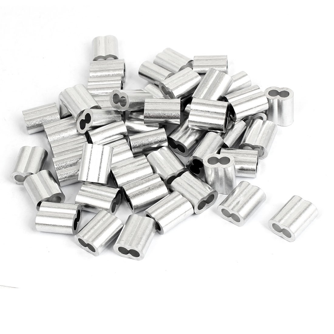 uxcell 5/32'' Aluminum Sleeves Silver Tone 50 Pcs for Wire Rope