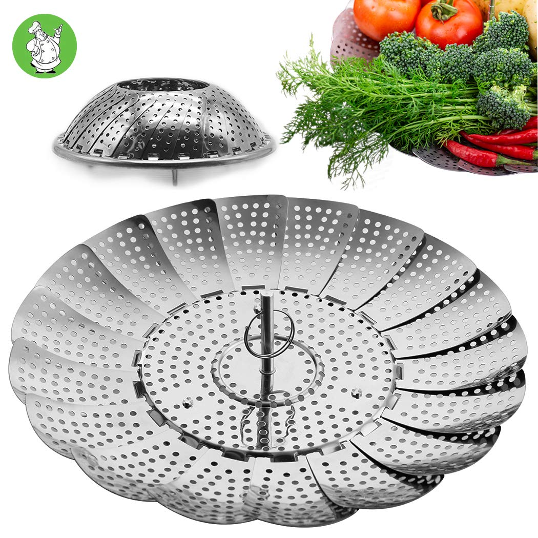 "Stainless Steel Vegetable Steamer Basket/Insert for Pots Pans Crock Pots & more 5.1"" to 9"" - Bonus Screw in Extension Handle included"