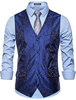 MODOQO Mens Suit Vest Double Breasted Slim Fit Retro Tuxedo Dress Waistcoat