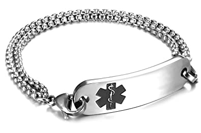 JF JEWELRY Customize Medical Alert Bracelets for Women with Stainless Steel  Rolo Link,6 5-8 0 inch