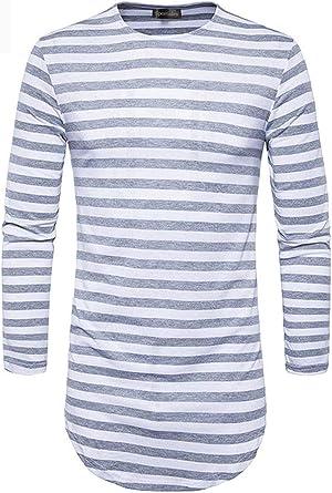 Camisa De Manga Larga para Hombre De Rayas con Moda Camiseta Top Joven De Otoño Básica para Hombre con Cuello Redondo Slim Fit Tops: Amazon.es: Ropa y accesorios