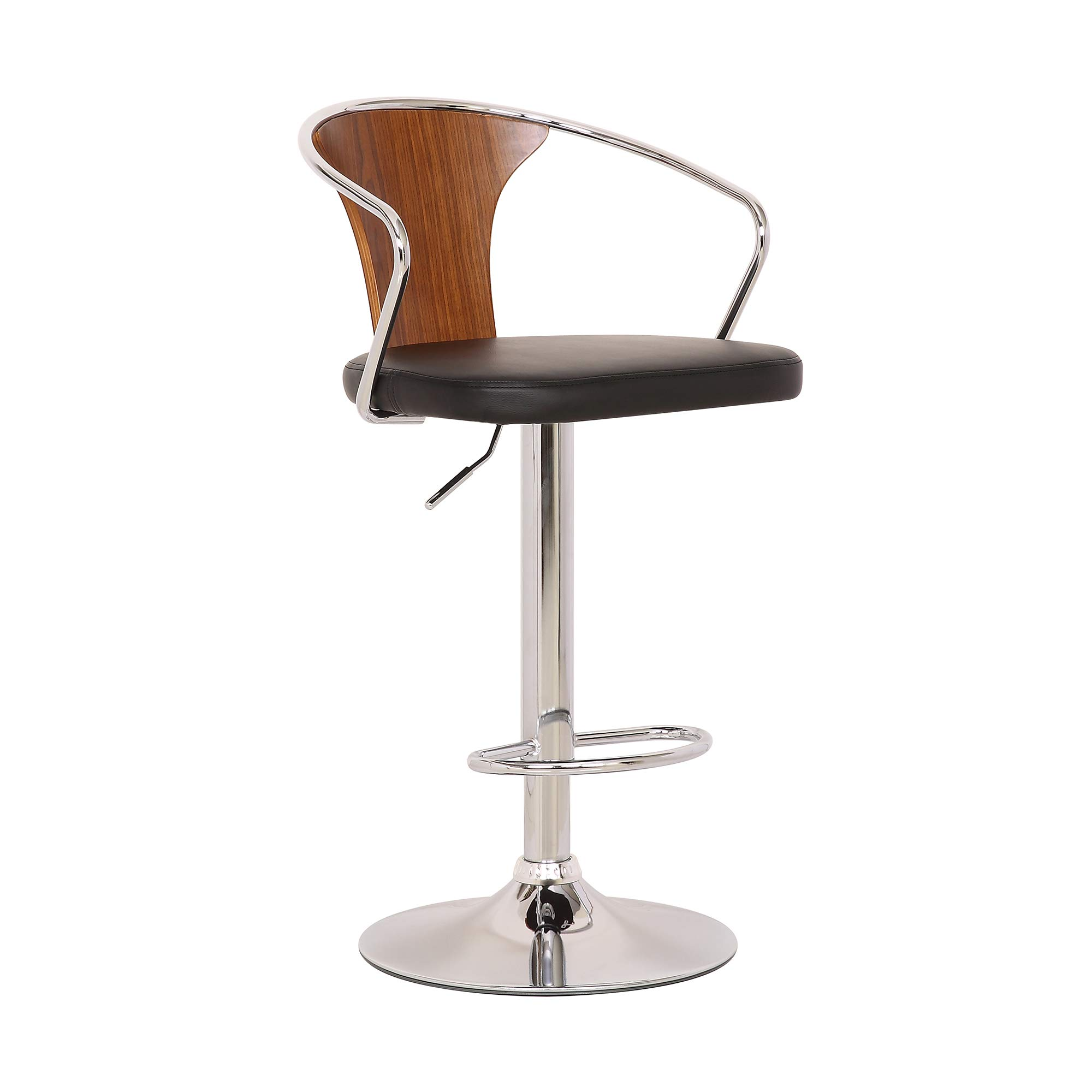 Today's Mentality Connor Modern Adjustable Barstool in Chrome with Black Faux Leather and Walnut Back