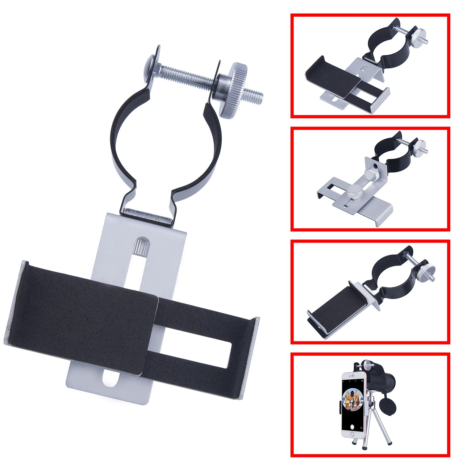 Ueasy Metal Smartphone Adapter for Microscope Binocular Spotting Scope Monocular Telescope Connector Shooting Hunting Cellphone Holder for Iphone Sony Samsung Huawei LG Xiaomi(Big)