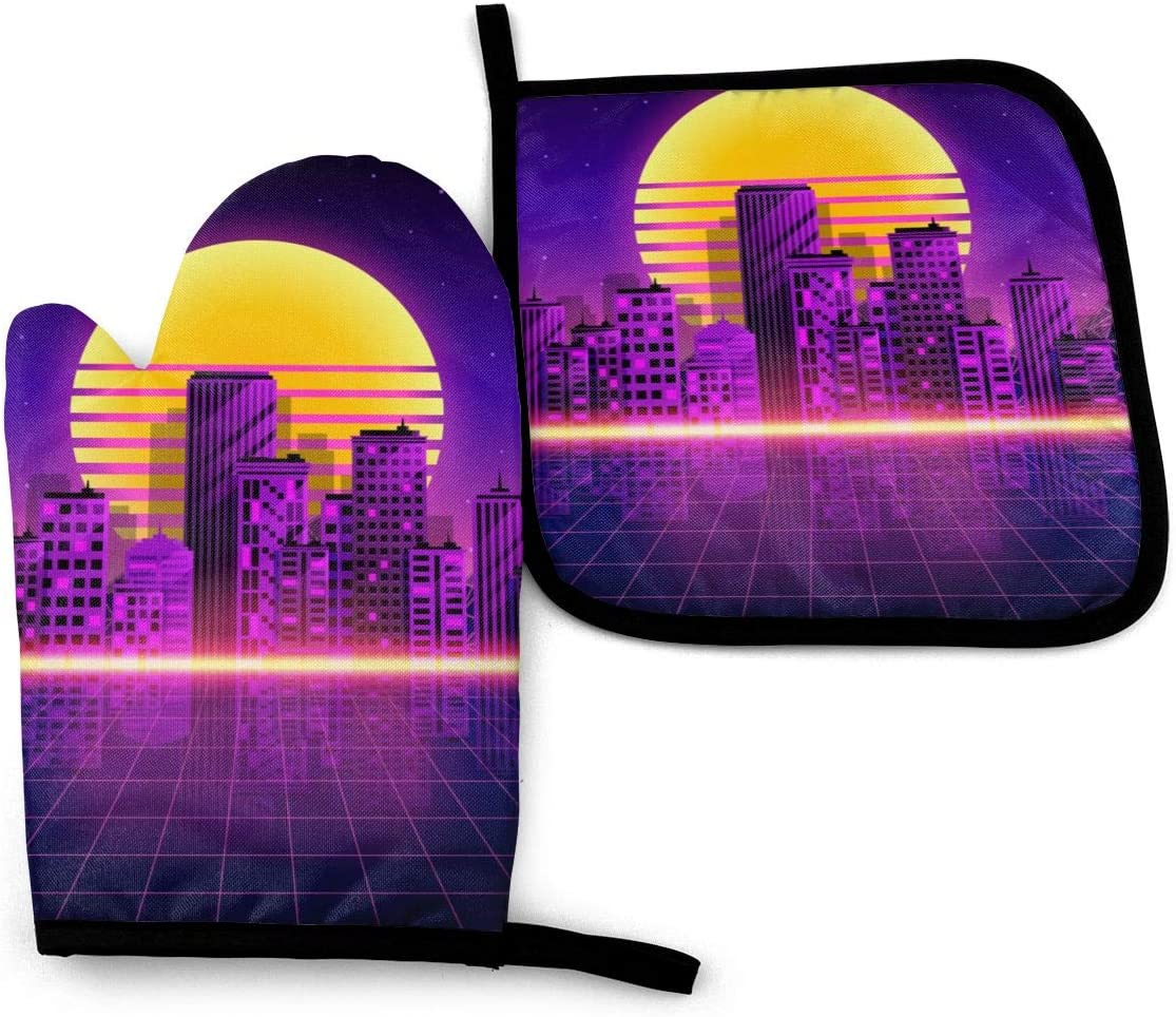 Pink Grid Retro Neon City Style 80'S Purple Landscape Night Oven Mitts Pot Holders with The Heat Resistance for Baking Cooking BBQ