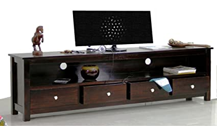 TimberTaste Sheesham Wood 1.96 Meter Dolly 4 Draw TV Unit Cabinet  Entertainment Stand (Dark Walnut