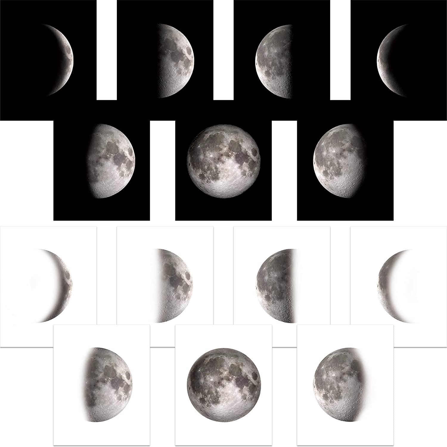 Outus 14 Pieces Moon Phases Wall Art Print Moon Poster Bedroom Wall Decor for Living Room Black and White Pictures Unframed Prints 8 x 10 Inch