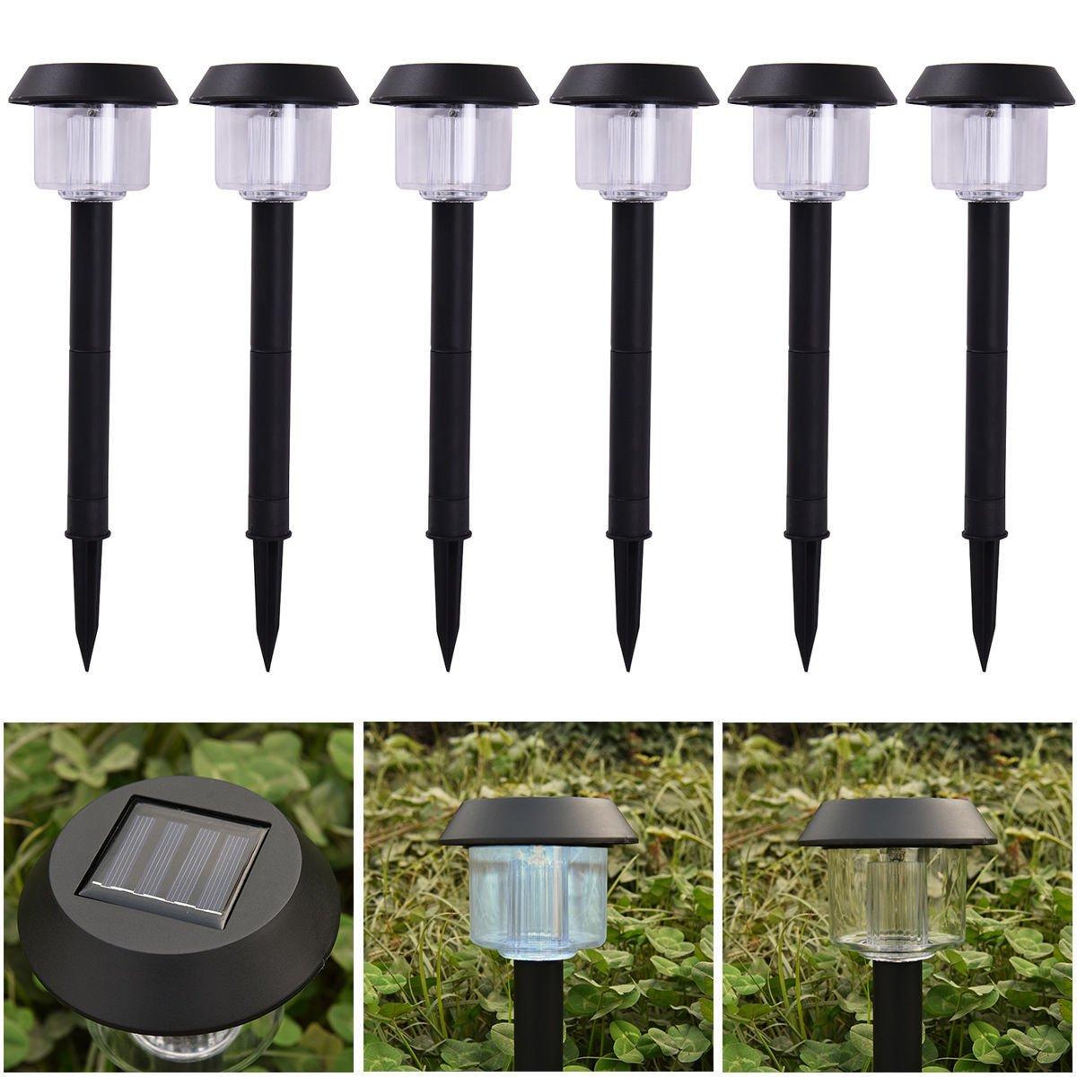 MAZIMARK--6 LED Solar Power Outdoor Path Light Spot Lamp Yard Garden Lawn Landscape White
