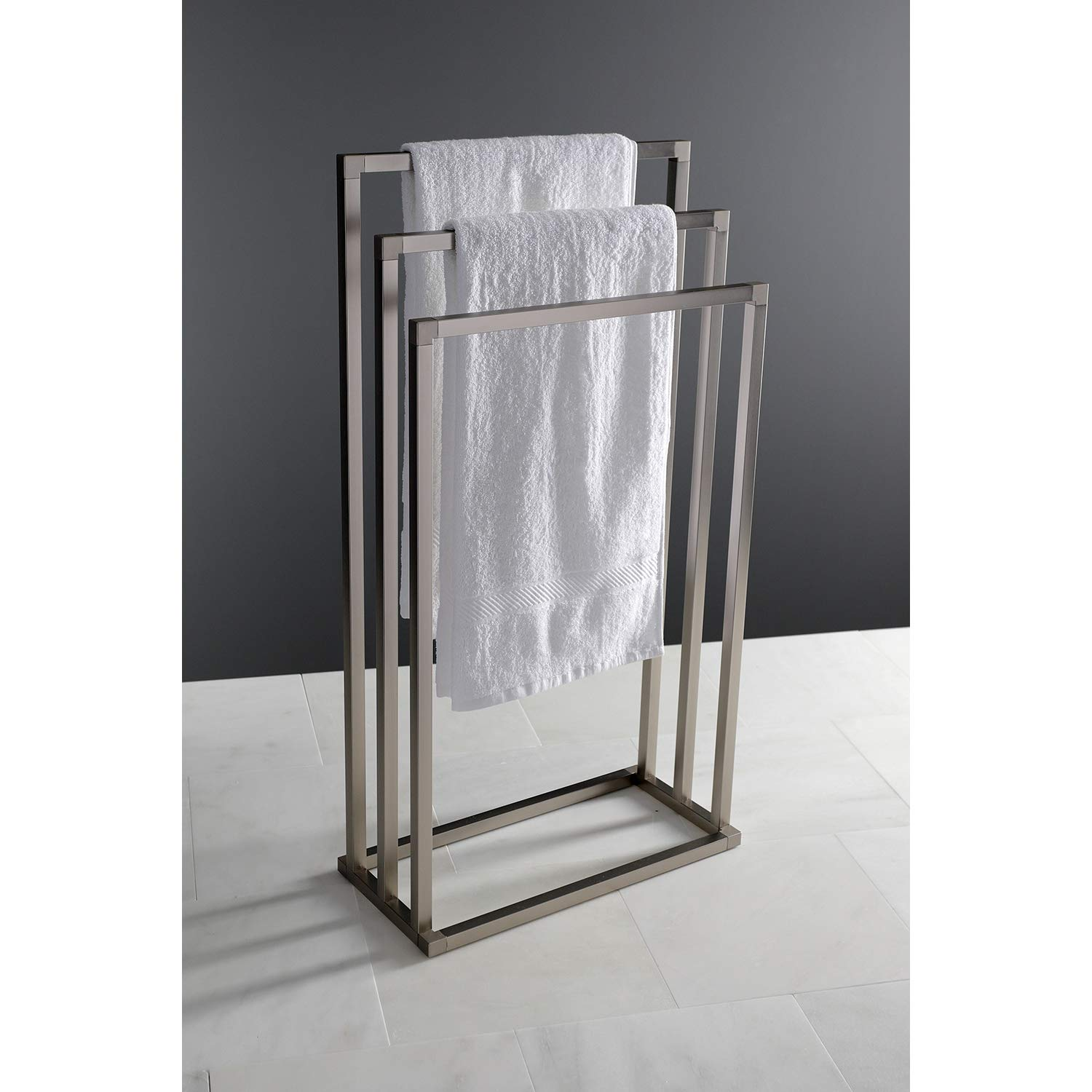 Kingston Brass SCC8338 Edenscape 3-Tier Pedestal Towel Rack Brushed Nickel