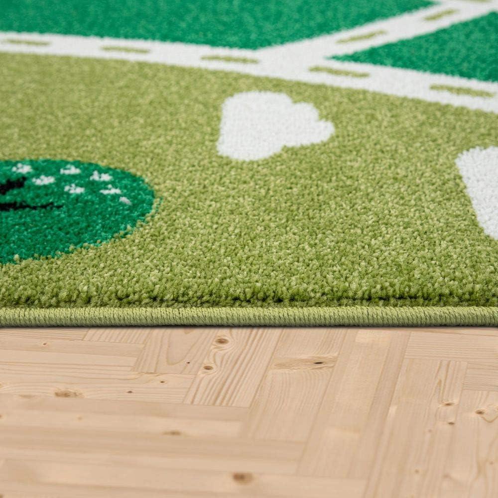 Paco Home Kinder-Teppich Mit Stra/ßen-Design Gr/össe:80x150 cm Landschaft in Gr/ün Kurzflor F/ür Kinderzimmer