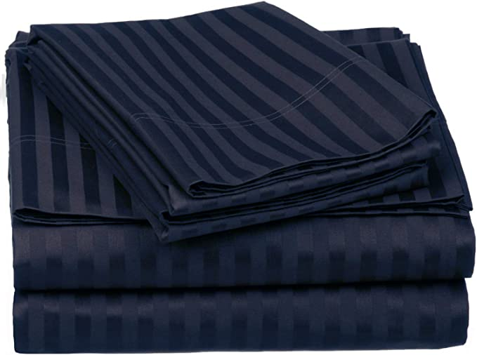 Amazon Com Superior 650flsh Stnb 4 Piece Egyptian Cotton 650 Thread Count Sheet Set With Deep Pocket And Single Ply Stripe Full Navy Blue Home Kitchen