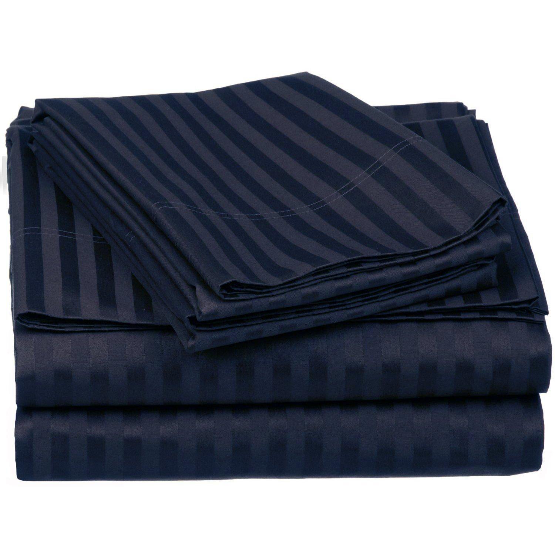 100% Egyptian Cotton 650 Thread Count Twin 3-Piece Sheet Set Deep Pocket Single Ply Stripe Navy Blue