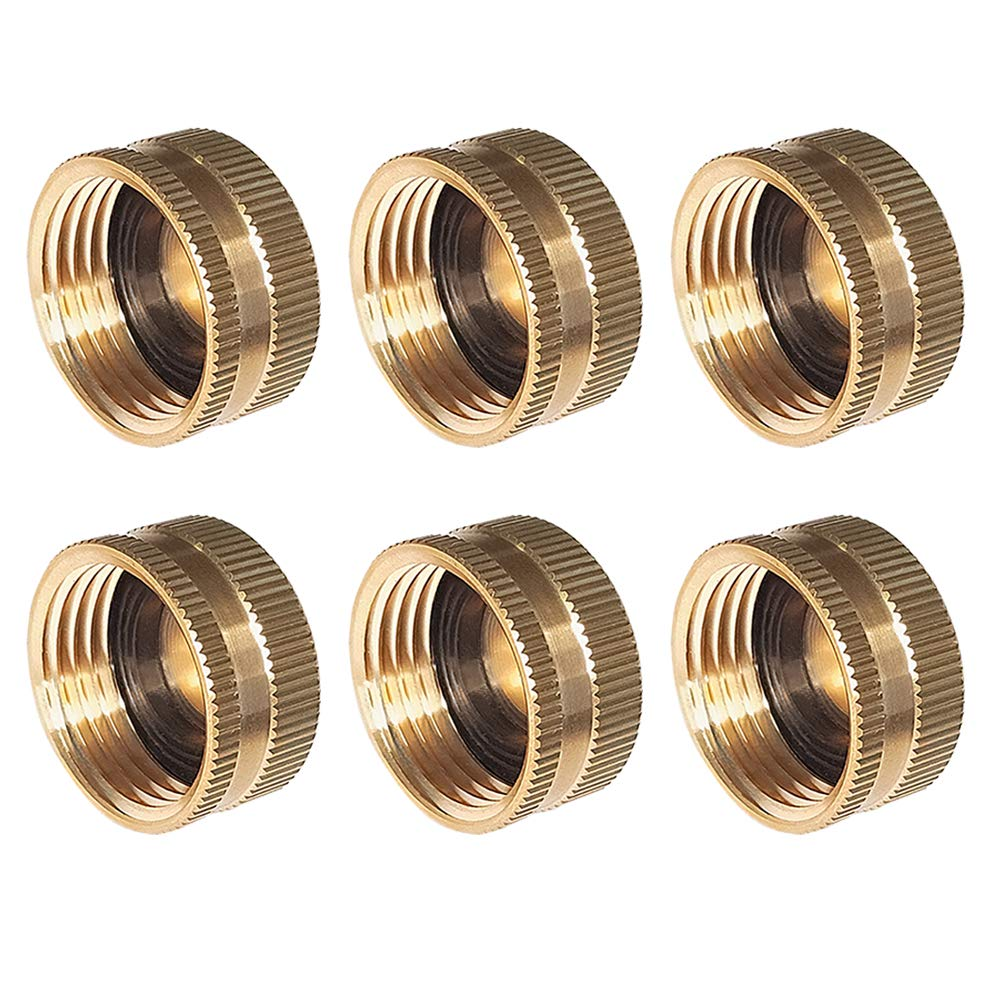 """HQMPC Brass Cap 3/4"""" NH 6Pcs Brass Hose Cap Garden Hose Garden Hose Female End Brass Fitting Cap Set"""