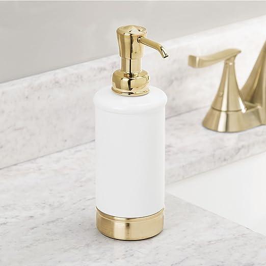 mDesign Juego de 2 dispensadores de jabón, loción o aceites - Dosificadores de jabón rellenables para lavabos o fregaderos - Accesorios de baño de calidad ...