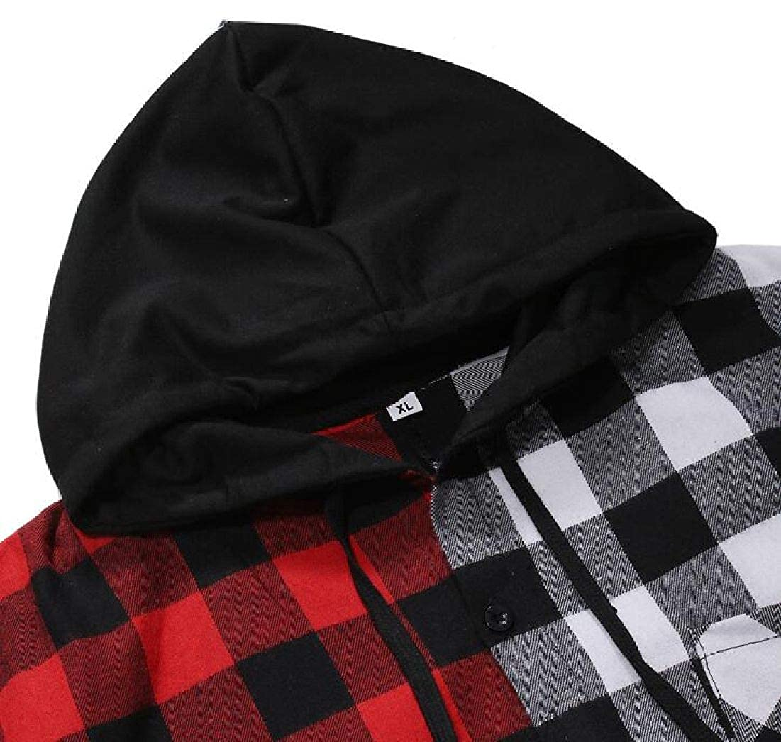 Frieed Mens Hooded Checked Colorblock Casual Short Sleeve Button Up Shirt