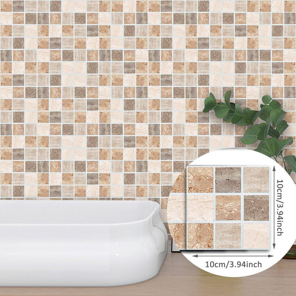 Polytree 18Pcs Modern Marble Texture Mosaic Tile Sticker Self Adhesive Wall Decal Waterproof PVC DIY Kitchen Bathroom Floor Decor, 10 x 10cm