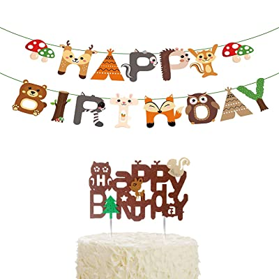 Jshend creative Woodland Happy Birthday Banner and cake topper,Forest Friend Animal Party Supplies Woodland Forest Animal Garland for Birthday Party Supplies Baby Shower Decor (WYT520): Toys & Games
