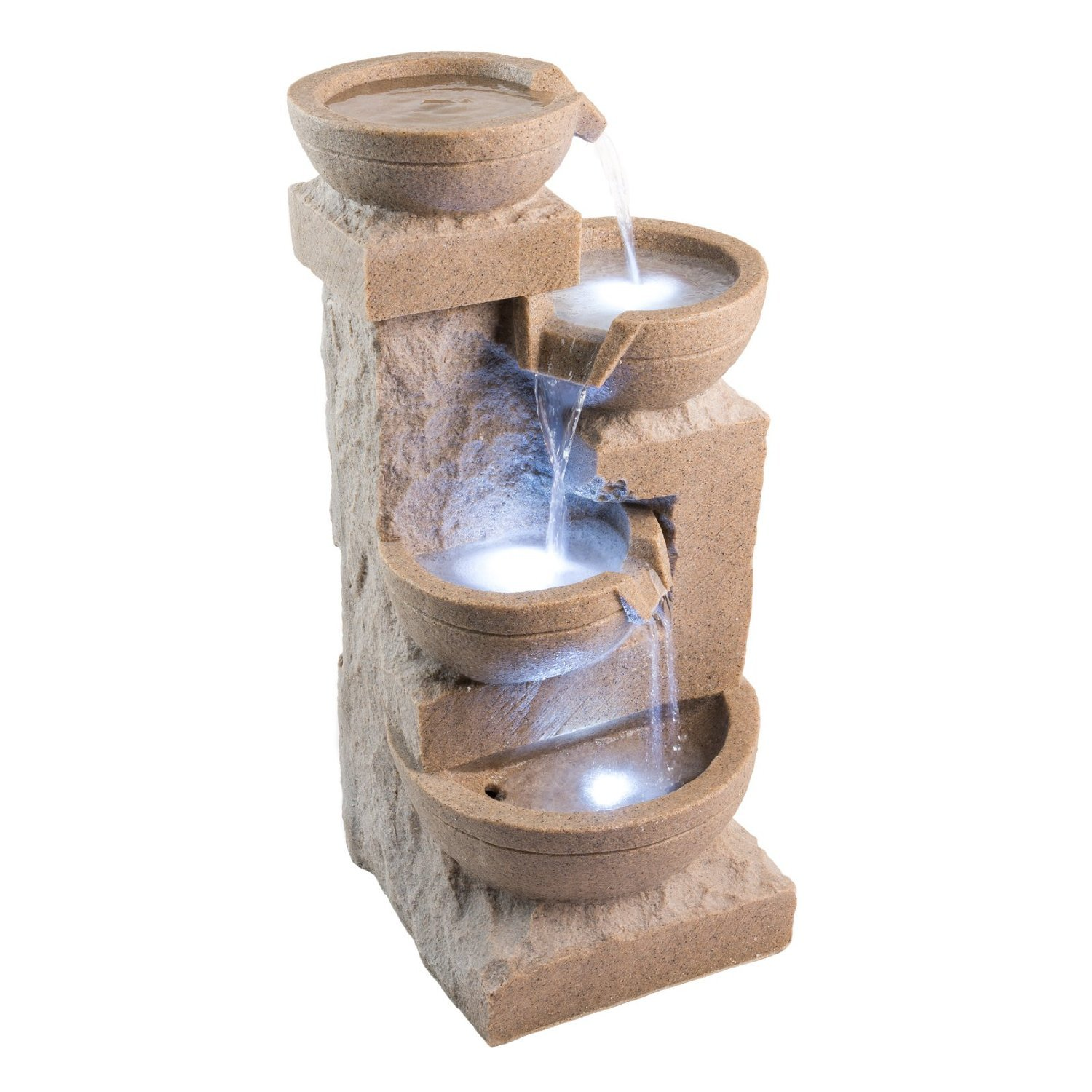 White Sand Bowl Fountain: Outdoor Water Feature for Gardens & Patios. Weather Resistant Resin. Includes LED Lights & Pump.