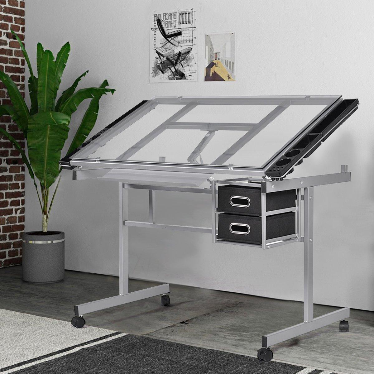 Mesa de dibujo reclinable de Costway, con almacenamiento para ...