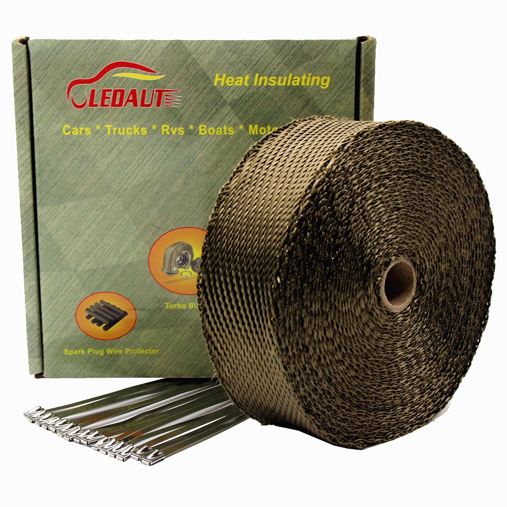 LEDAUT 2'x 50' Twill Weave Motorcycle ATV Titanium Exhaust Heat Shield Wrap with 11.8' Locking Ties (Pack of 15)