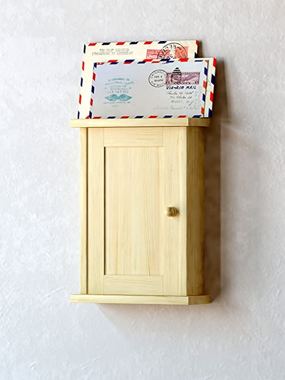 KAO Pine Wood Wall Mount Key Box with 10 hooks - Wall Decor - Mail Holder Key Hooks - Mail Organize Wall - Wall Mail Organize - Key Holder for Wall - ...