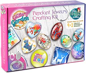 Girls Jewelry Making Kit. DIY Necklace Pendant and Bracelet Crafting Set with Glass Beads and Charms - Fashion Accessories Arts and Crafts Supplies. Great as Handmade Gift, Group Activities and Party