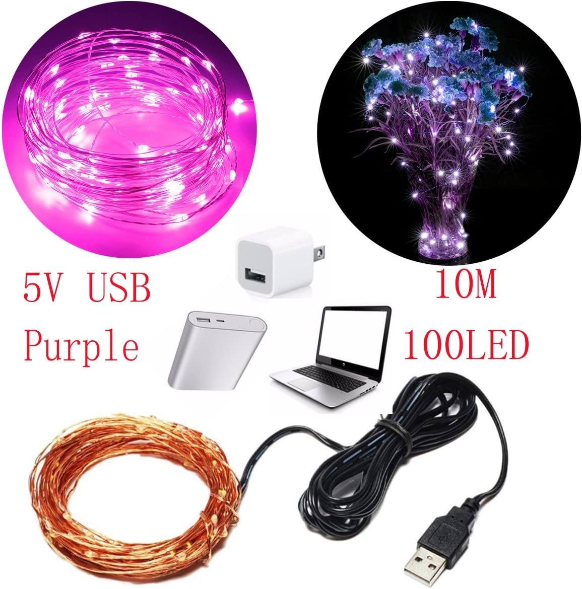 AOCKS String Lights,100 LEDs USB Starry Fairy Lights Waterproof Decorative Lights for Bedroom, Patio, Garden, Yard, Parties, Wedding, Indoor Outdoor Purple