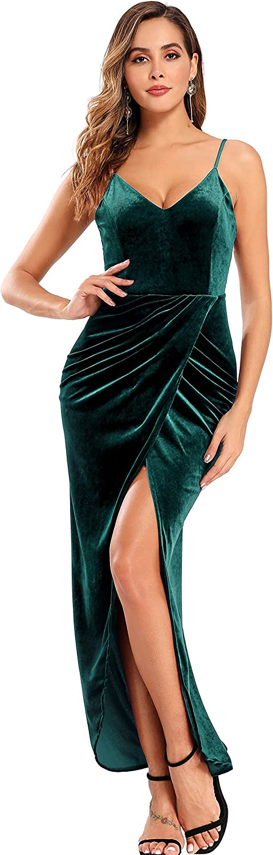 Ababalaya Velvet Formal Dresses for Women Evening Sleeveless Slit Gala Dresses