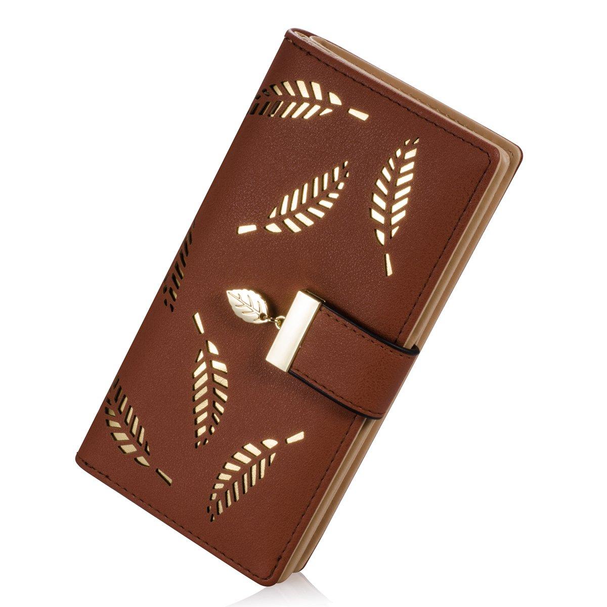 Women's Long Leaf Bifold Wallet Leather Card Holder Purse Zipper Buckle Elegant Clutch Wallet Handbag
