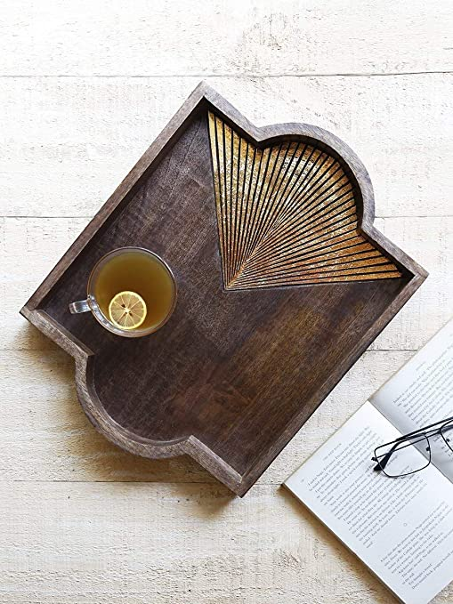 96c86242a0 storeindya Wooden Handmade Serving Tray (Metallic Gold Foil) - Trays with  Handles for Parties
