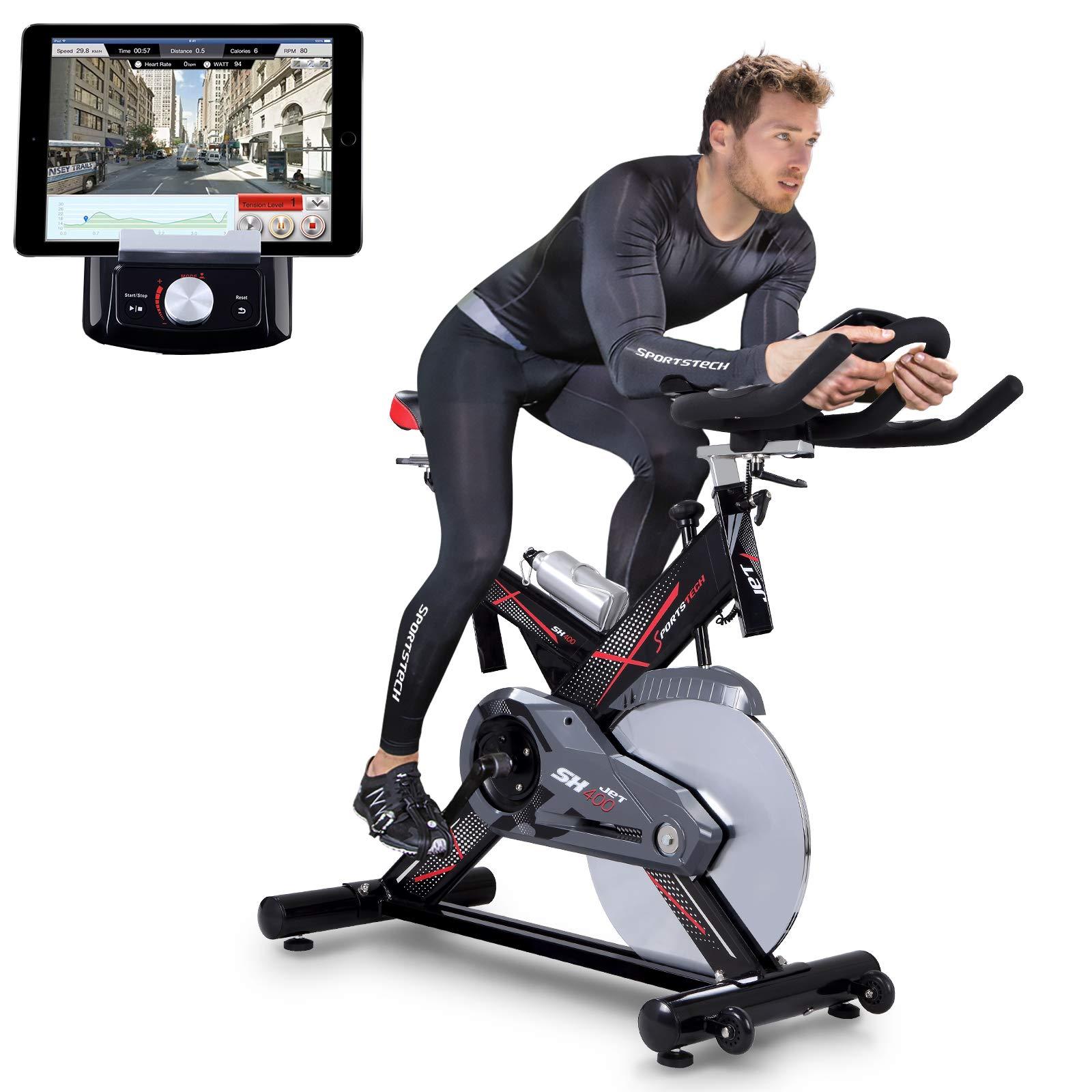 Sportstech SX400 bicicleta estática profesional con App control para Smartphone + Street View, disco de