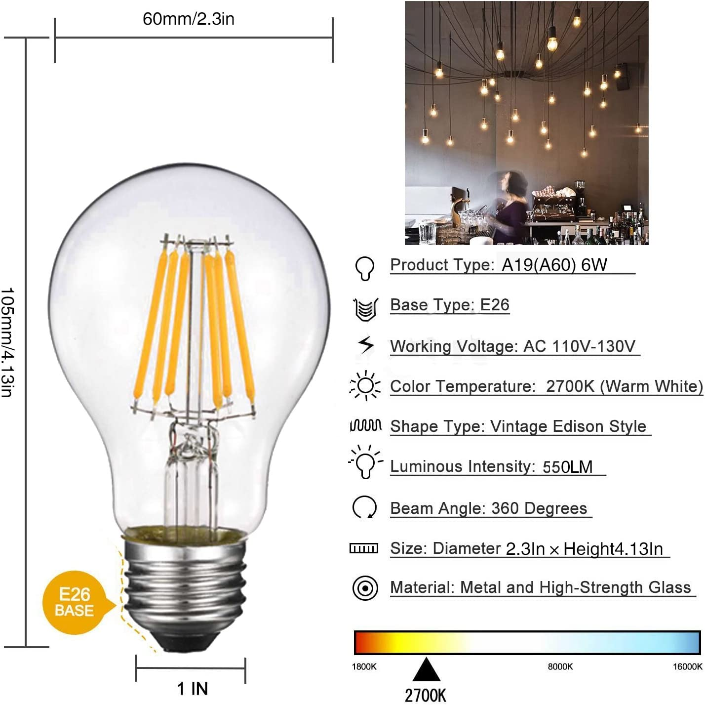 40W Incandescent Equivalent 4W Vintage Filament Light Bulb Dimmable Led Edison Bulb A19 E26 Clear Glass Cover Soft Warm White 2700k Pack of 6 360 Lumens