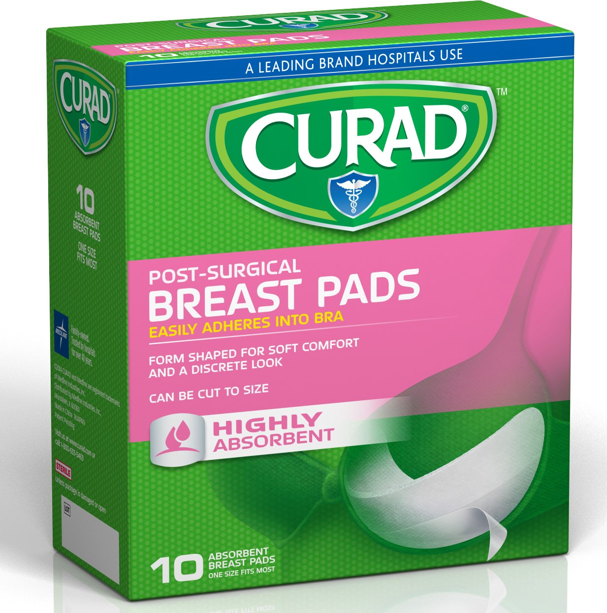 Curad CUR5140 Pink Ribbon Non-Stick Breast Pad with Adhesive Tabs, OSFM, Blue (Pack of 240)