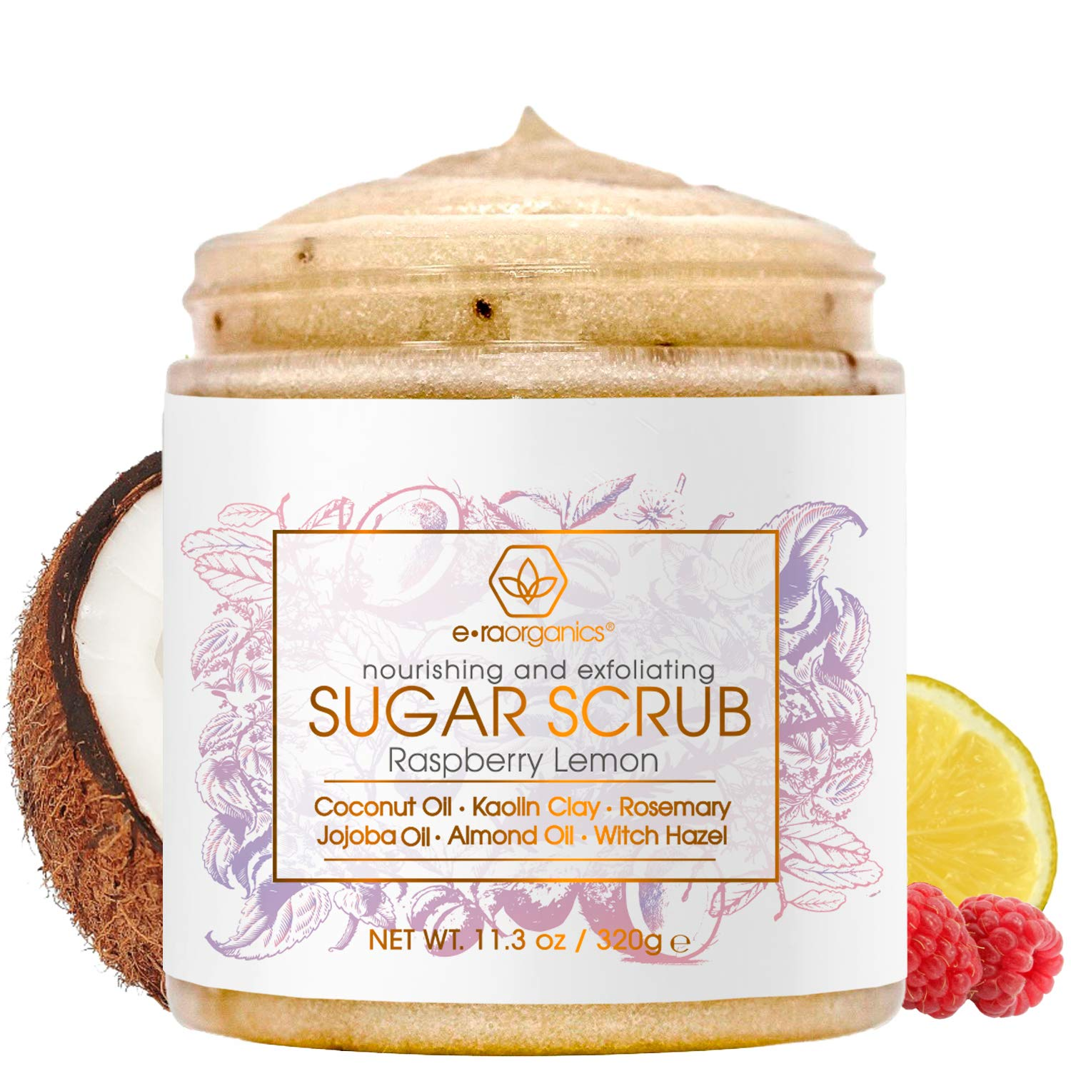 Natural & Organic Sugar Scrub Body Exfoliator - Spa Quality Organic Body Scrub with Food Grade Ingredients to Nourish, Moisturize & Rejuvenate Dull Dry Skin - No Harsh Chemicals, Parabens or Sulfates : Beauty