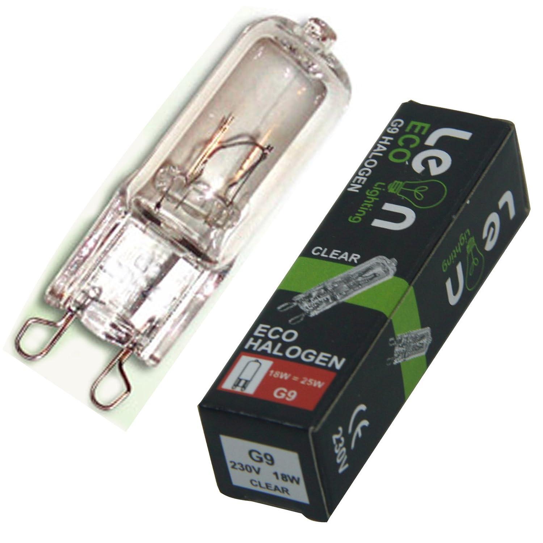 10 x G9 18w Clear ECO Halogen Capsule Bulbs 220-240v Energy Saving 18w with 25w Light output Leonlighting