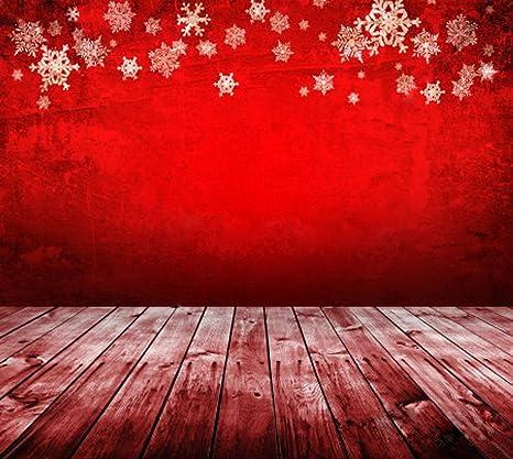Sfondo Rosso Natalizio Con Fiocchi Di Neve Vintage Parete Di