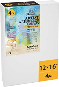 PHOENIX Stretched Watercolor Canvas - 12x16 Inch/4 Pack - 3/4 Inch Profile Professional Artist Painting Canvas for Water Soluble Paints