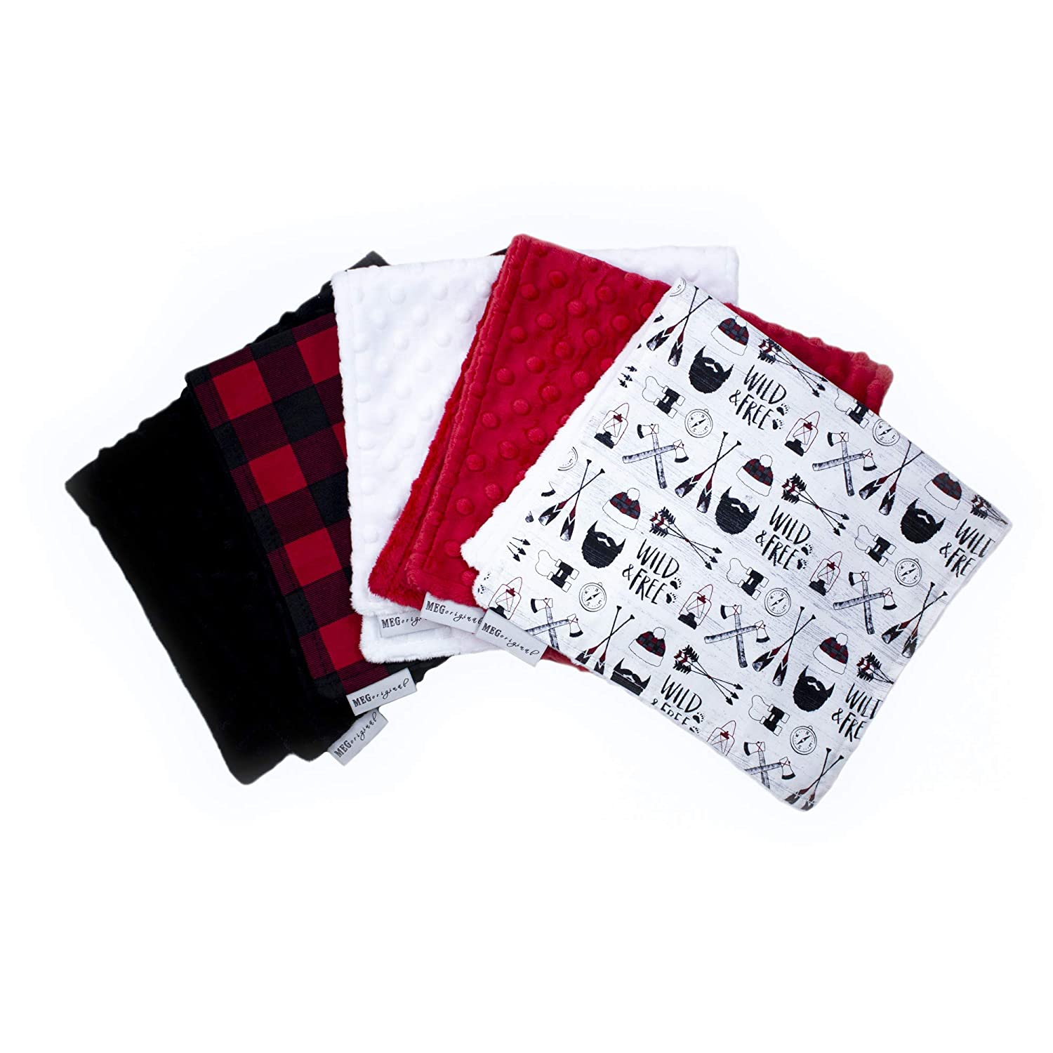 Set of 3 New Red and Black Plaid Burp Cloths Double Flannel ~ Deer Bear Woodland