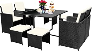 Viewee 9 Pieces Wicker Patio Dining Set, Indoor Outdoor Space-Saving Rattan Table & Chairs with Tempered Glass Top & Padded Cushions and Back Sectional Patio Conversation Set